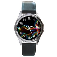 Fluted Cosmic Rafluted Cosmic Rainbow, Abstract Winds Round Leather Watch (silver Rim) by DianeClancy