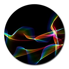Fluted Cosmic Rafluted Cosmic Rainbow, Abstract Winds 8  Mouse Pad (round) by DianeClancy