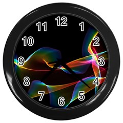 Fluted Cosmic Rafluted Cosmic Rainbow, Abstract Winds Wall Clock (black) by DianeClancy