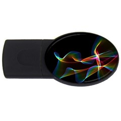 Fluted Cosmic Rafluted Cosmic Rainbow, Abstract Winds 4gb Usb Flash Drive (oval) by DianeClancy