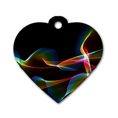 Fluted Cosmic Rafluted Cosmic Rainbow, Abstract Winds Dog Tag Heart (one Sided)  by DianeClancy