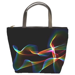 Fluted Cosmic Rafluted Cosmic Rainbow, Abstract Winds Bucket Handbag by DianeClancy