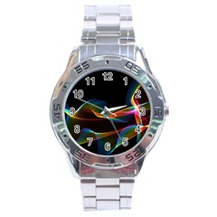 Fluted Cosmic Rafluted Cosmic Rainbow, Abstract Winds Stainless Steel Watch by DianeClancy