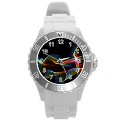 Fluted Cosmic Rafluted Cosmic Rainbow, Abstract Winds Plastic Sport Watch (large) by DianeClancy
