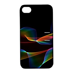 Fluted Cosmic Rafluted Cosmic Rainbow, Abstract Winds Apple Iphone 4/4s Hardshell Case With Stand by DianeClancy