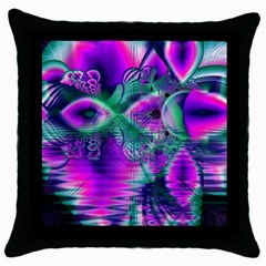 Teal Violet Crystal Palace, Abstract Cosmic Heart Black Throw Pillow Case by DianeClancy