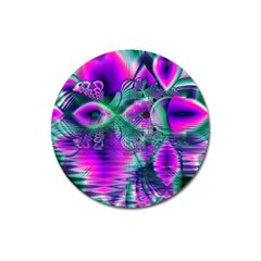 Teal Violet Crystal Palace, Abstract Cosmic Heart Magnet 3  (round) by DianeClancy