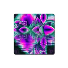 Teal Violet Crystal Palace, Abstract Cosmic Heart Magnet (square) by DianeClancy
