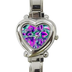 Teal Violet Crystal Palace, Abstract Cosmic Heart Heart Italian Charm Watch  by DianeClancy