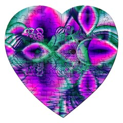 Teal Violet Crystal Palace, Abstract Cosmic Heart Jigsaw Puzzle (heart) by DianeClancy