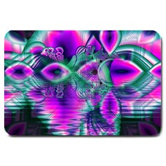 Teal Violet Crystal Palace, Abstract Cosmic Heart Large Door Mat by DianeClancy
