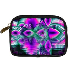 Teal Violet Crystal Palace, Abstract Cosmic Heart Digital Camera Leather Case