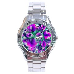 Teal Violet Crystal Palace, Abstract Cosmic Heart Stainless Steel Watch
