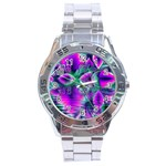 Teal Violet Crystal Palace, Abstract Cosmic Heart Stainless Steel Watch Front