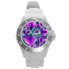 Teal Violet Crystal Palace, Abstract Cosmic Heart Plastic Sport Watch (large) by DianeClancy