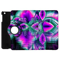 Teal Violet Crystal Palace, Abstract Cosmic Heart Apple Ipad Mini Flip 360 Case by DianeClancy