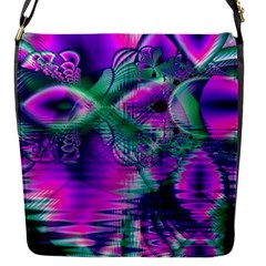 Teal Violet Crystal Palace, Abstract Cosmic Heart Flap Closure Messenger Bag (small) by DianeClancy