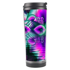 Teal Violet Crystal Palace, Abstract Cosmic Heart Travel Tumbler
