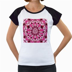 Twirling Pink, Abstract Candy Lace Jewels Mandala  Women s Cap Sleeve T Shirt (white)