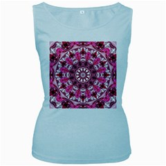 Twirling Pink, Abstract Candy Lace Jewels Mandala  Women s Tank Top (baby Blue)