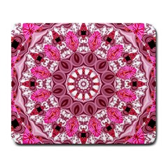Twirling Pink, Abstract Candy Lace Jewels Mandala  Large Mouse Pad (rectangle) by DianeClancy