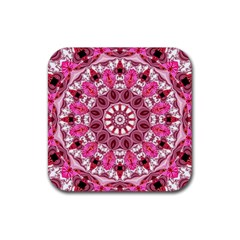Twirling Pink, Abstract Candy Lace Jewels Mandala  Drink Coaster (square) by DianeClancy