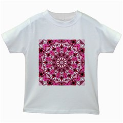 Twirling Pink, Abstract Candy Lace Jewels Mandala  Kids T Shirt (white)