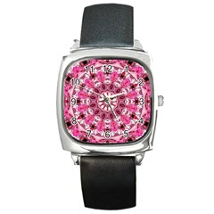 Twirling Pink, Abstract Candy Lace Jewels Mandala  Square Leather Watch