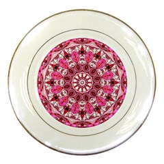 Twirling Pink, Abstract Candy Lace Jewels Mandala  Porcelain Display Plate