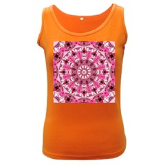 Twirling Pink, Abstract Candy Lace Jewels Mandala  Women s Tank Top (dark Colored)