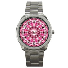 Twirling Pink, Abstract Candy Lace Jewels Mandala  Sport Metal Watch