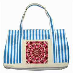 Twirling Pink, Abstract Candy Lace Jewels Mandala  Blue Striped Tote Bag by DianeClancy