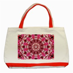 Twirling Pink, Abstract Candy Lace Jewels Mandala  Classic Tote Bag (red)