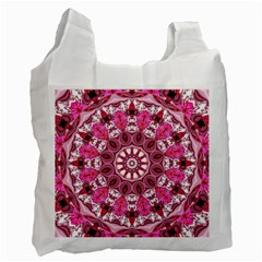 Twirling Pink, Abstract Candy Lace Jewels Mandala  White Reusable Bag (two Sides)