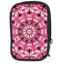 Twirling Pink, Abstract Candy Lace Jewels Mandala  Compact Camera Leather Case by DianeClancy