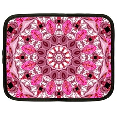 Twirling Pink, Abstract Candy Lace Jewels Mandala  Netbook Sleeve (xxl) by DianeClancy