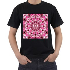 Twirling Pink, Abstract Candy Lace Jewels Mandala  Men s T Shirt (black)