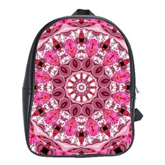 Twirling Pink, Abstract Candy Lace Jewels Mandala  School Bag (large) by DianeClancy