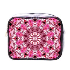 Twirling Pink, Abstract Candy Lace Jewels Mandala  Mini Travel Toiletry Bag (one Side) by DianeClancy