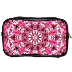 Twirling Pink, Abstract Candy Lace Jewels Mandala  Travel Toiletry Bag (two Sides) by DianeClancy