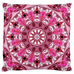 Twirling Pink, Abstract Candy Lace Jewels Mandala  Large Cushion Case (two Sided)