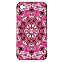 Twirling Pink, Abstract Candy Lace Jewels Mandala  Apple Iphone 4/4s Hardshell Case (pc+silicone) by DianeClancy
