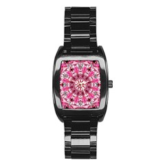 Twirling Pink, Abstract Candy Lace Jewels Mandala  Stainless Steel Barrel Watch