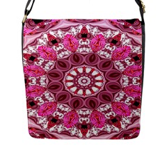 Twirling Pink, Abstract Candy Lace Jewels Mandala  Flap Closure Messenger Bag (large) by DianeClancy
