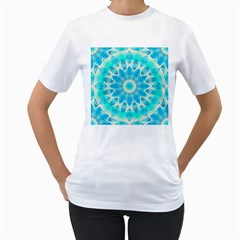 Blue Ice Goddess, Abstract Crystals Of Love Women s Two-sided T-shirt (white)