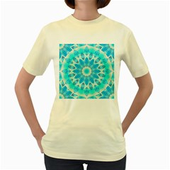 Blue Ice Goddess, Abstract Crystals Of Love Women s T Shirt (yellow)