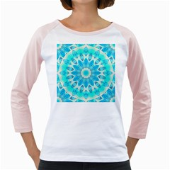 Blue Ice Goddess, Abstract Crystals Of Love Women s Long Cap Sleeve T Shirt (white)  by DianeClancy