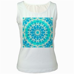 Blue Ice Goddess, Abstract Crystals Of Love Women s Tank Top (white)