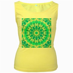 Blue Ice Goddess, Abstract Crystals Of Love Women s Tank Top (yellow)
