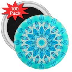 Blue Ice Goddess, Abstract Crystals Of Love 3  Button Magnet (100 Pack)